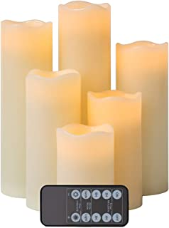 """Flameless Candles LED Candle Set of 6 (H 4"""" 5"""" 6"""" 7"""" 8"""" 9"""" x D 2.5"""") Realistic Flickering Electric Candles aa Battery Operated, Ivory Real Wax LED Pillar Candle Sets with Remote Control and Timer"""