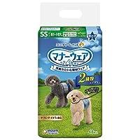 【ケース販売】マナーウェア 男の子用 超小~小型犬用 SSサイズ 青チェック・紺チェック 48枚×8コ