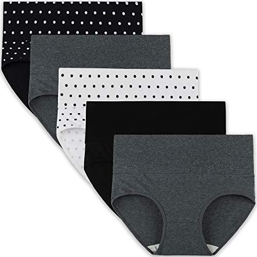 INNERSY Slip Damen High Waist Baumwolle Kaiserschnitt Unterhose Schwarz Weiß Mehrpack 5 (M, Dot/Grau/Schwarz)