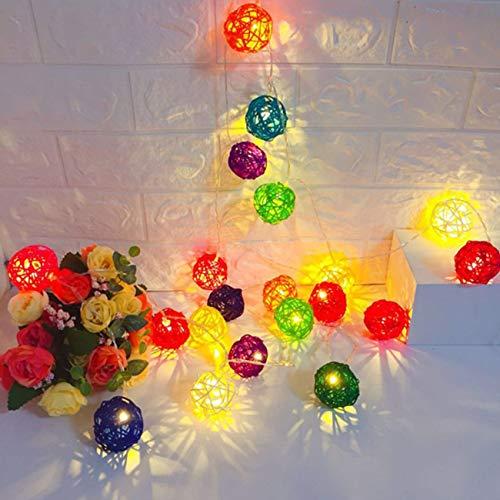Ashley GAO 10 luces LED 2 m cadena de ratán bola lámpara batería alambre cobre decoración Navidad hadas luz para el hogar boda fiesta