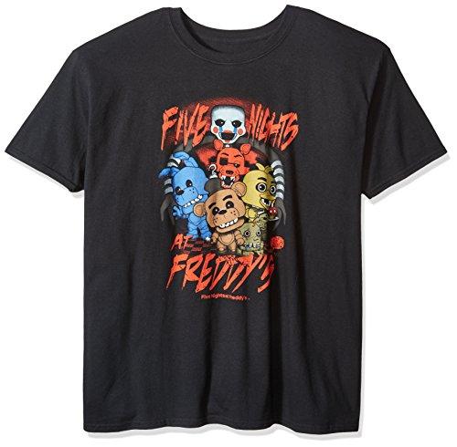 Funko Men's Pop! T-Shirts: Fnaf - Fnaf Group, Black, Medium