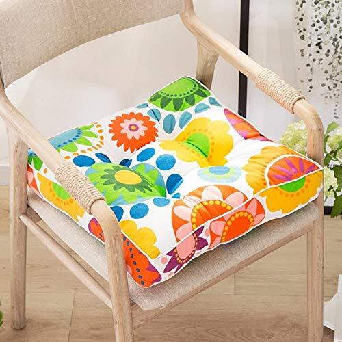 LJYY Cojín cuadrado redondo para silla, cojín grueso con estampado floral, cojín para el suelo, cojín para silla para interiores y exteriores, 40 x 40 cm
