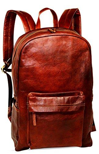 Jaald 45 Cm Zaino Bagaglio Borsa Zainetto Carry on a Palestra Mano in Vera Pelle da Uomo Donna Leather Laptop Backpack da Viaggio Scuola Universita Professionale Casual Vintage Elegante Regalo