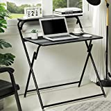 Itaar Portable Folding Computer Desk No-Assembly Required, Foldable Student Writing Desk with Shelves, Home Office Workstation Laptop Notebook PC Table for Small Space, Black