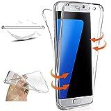 XCYYOO Funda para Samsung Galaxy S7 Edge Silicona,Carcasas para Samsung Galaxy S7 Edge, [360 Grados Full Body] Transparente Suave Ultrafina Gel Silicona TPU Choque Arañazos Protectora Case