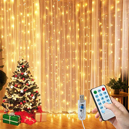 Ousome Window Curtain String Lights with 300 LED, 4 Music Control Modes & 8 Lighting Modes, Voice Activated, USB Powered for Party, Wedding, Garden, Bedroom, Christmas Festival Decoration (9.8x9.8 Ft)