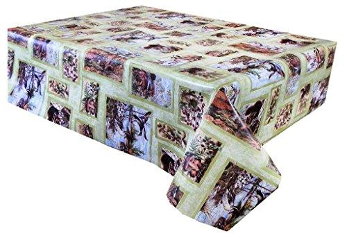 3 M (300 cm x 137 cm) Nappe en vinyle, Country Scene Nature avec Canards, Faisan, lièvres, etc. En Vert, Beige et Sable, 10 places Taille Rectangulaire facile à nettoyer, envers Textile (179)