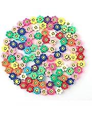 SAVITA 100 Stks Spacer Kralen Polymeer Bloem Smiley Kralen Kleurrijke Kralen Voor Armbanden, Kettingen, Sieraden Maken (Willekeurige Kleuren)