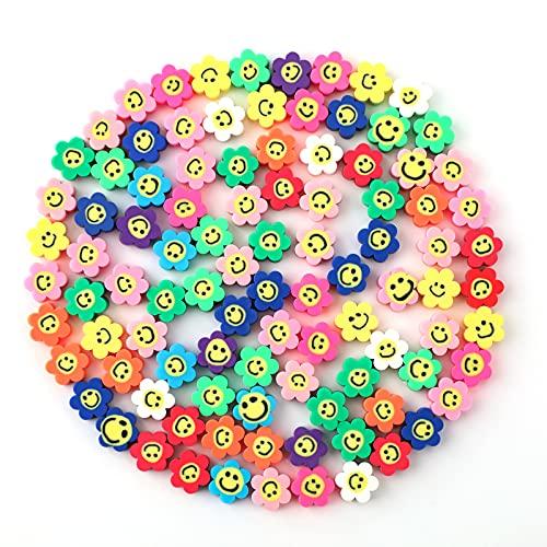 SAVITA 100 Stks Spacer Kralen Polymeer Bloem Smiley Kralen Kleurrijke Kralen Voor Armbanden, Kettingen, Sieraden Maken…