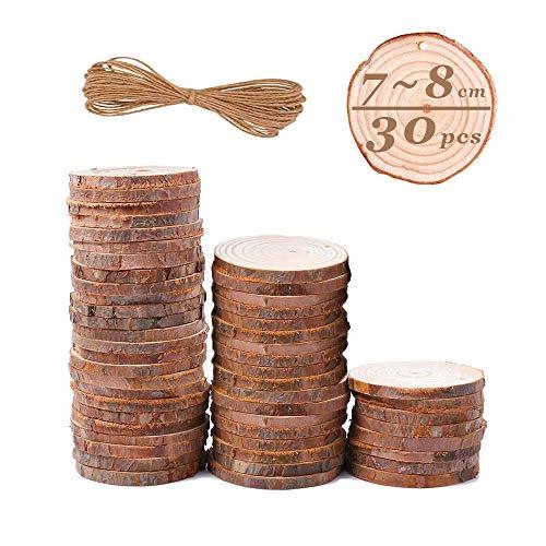 Rodajas Madera 7-8 cm, Zoneyan Rodajas De Madera Círculos Natural, 30 PCS Discos De Madera Rebanada Círculos Con Agujero y 10m Cuerda