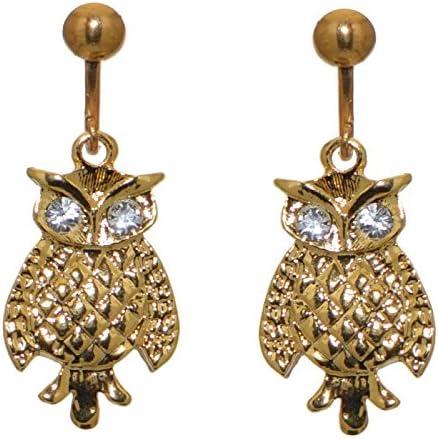 NASCHA gold plated owl clip on earrings