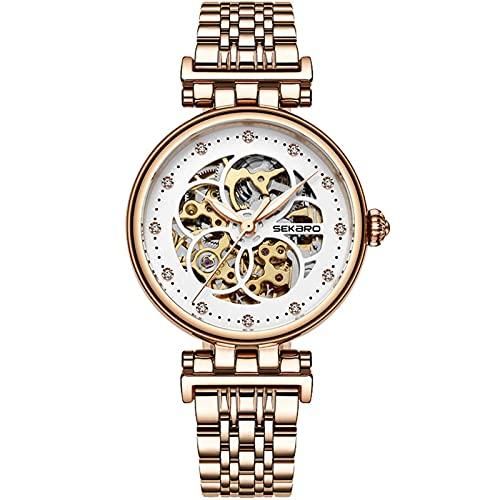 HKX Reloj Reloj Femenino Simple Hueco, Reloj Femenino mecánico automático, cinturón, Reloj Femenino mecánico automático, (Masculino y Femenino), Oro