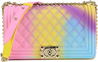 Matte Colorful PVC Jelly Chain Bags Plaid Multicolor Crossbody Purse Bag (Colorful 05)