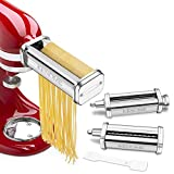3-Piece Pasta Roller & Cutter Attachment Set for KitchenAid Stand Mixers Included Pasta Sheet...