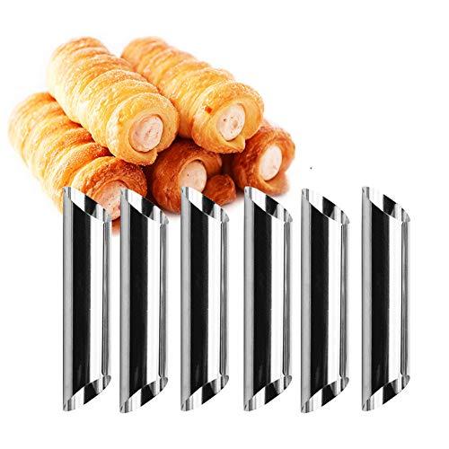Lembeauty Lot de 12 moules à croissant en acier inoxydable à visser en forme d'anode pour gâteau, corne, pain, cannoli