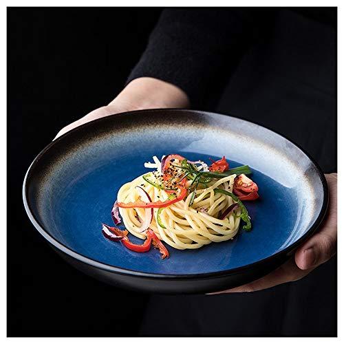 Chu Stoviglie in Ceramica Creativa, Stoviglie Retro Smaltate in Forno, Piatto Rotondo Profondo 8 Pollici, Piatto per Insalata/Frutta/Snack (Blu Stella)