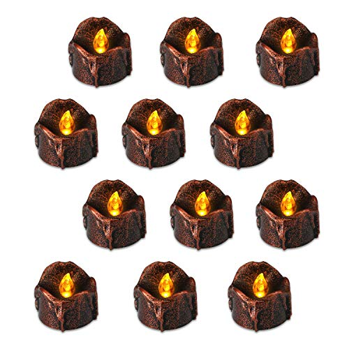 flintronic 12 Velas Led Pequeñas, Velas Led de Té Velas Eléctricas con Baterías para San Valentín, Cumpleaños, Navidad, Halloween Decoración, Blanco Cálido [Clase de eficiencia energética A]