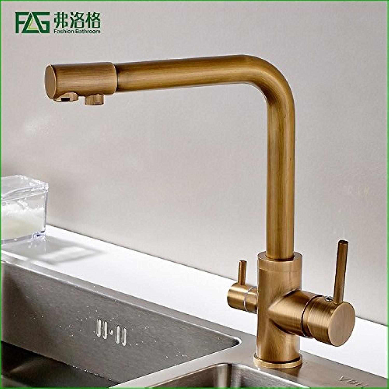 Ddlli Wasserhahn Duscharmatur F6_ Kupfer Küchenarmatur Bronze-Wie Dual-Use Pure Doppelbecken Spüle Heies Wasser