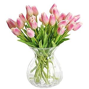 Silk Flower Arrangements 30 pcs Real-Touch Artificial Tulip Flowers Home Wedding Party Decor (Dark Pink)