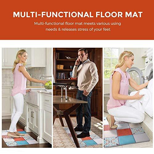 Anti Fatigue Kitchen Rug Set 2 Piece Non Slip Cushioned Floor Comfort Mat Waterproof Comfort Standing Kitchen Rug Mixed Color 17.5