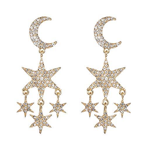 Pendientes largos de aleación para mujer, diseño retro con diamantes de imitación, diseño de estrellas, luna y luna