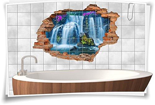 Medianlux Fliesenaufkleber Fliesenbild Wanddurchbruch Sticker Natur Wasserfall, 150x100cm, 15x15cm (BxH)