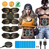 ABS Muscle Stimulator, ANLAN EMS Abdominal Muscle Toner Electronic Muscle Trainer, USB Rechargeable
