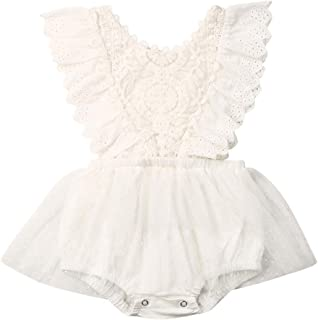 Newborn Baby Girl Romper White Long Sleeves/Ruffle Sleeveless Lace Floral Tutu Dress Bodysuit Outfits