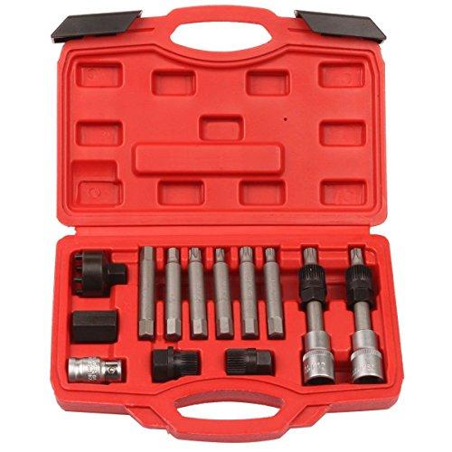 LARS360 13-TLG Lichtmaschinen Werkzeug Lichtmaschine Freilauf Abzieher Generator Riemenscheibe Arretier-Werkzeug