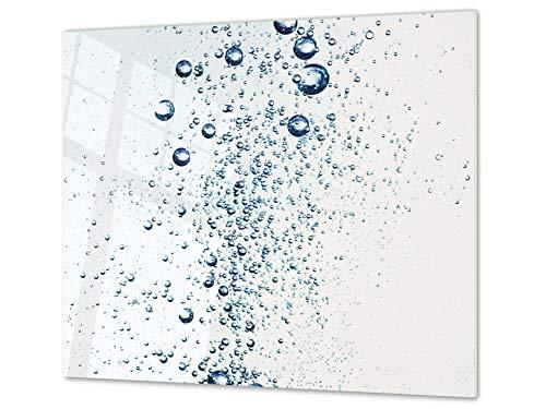 Cubre vitro de cristal templado – Protector de encimera de vidrio templado – Resistente a golpes y arañazos – UNA PIEZA (60 x 52 cm) o DOS PIEZAS (30 x 52 cm); D02 Serie Agua: Agua 24