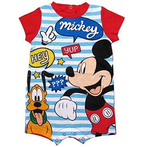 Mickey Mouse und Pluto Kollektion 2018 Strampelanzug 62 68 74 80 86 92 Strampler Einteiler Kurz Maus Disney Rot (Rot, 74-80)