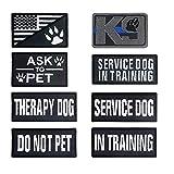 8 parches reflectantes para perros, parches tácticos extraíbles para mascotas, parches tácticos para perros de servicio, parches para pidiendo a mascotas para arneses, collares, correas (negro)