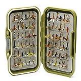 Moscas impermeables + 10, 25, 50, 100 o 204 moscas secas mixtas para pesca con mosca de trucha,...