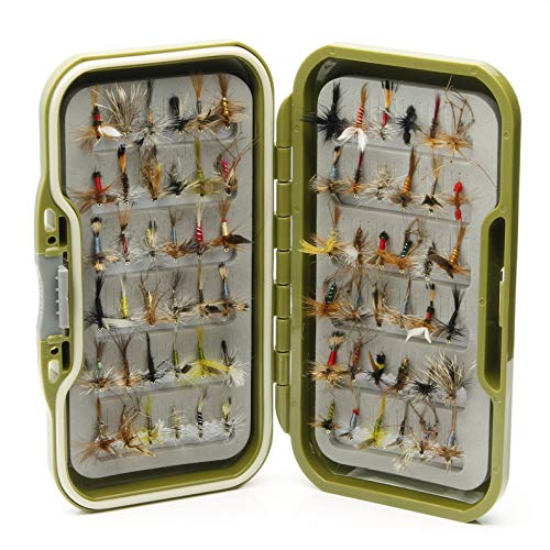 Moscas impermeables + 10, 25, 50, 100 o 204 moscas secas mixtas para pesca con mosca de trucha, Mixture of Two Hook Sizes 10 & 12