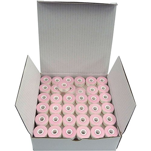 SuperB Pre-Wound Bobbins White Polyester 60wt Class 15, for Home Machines, Box of 144