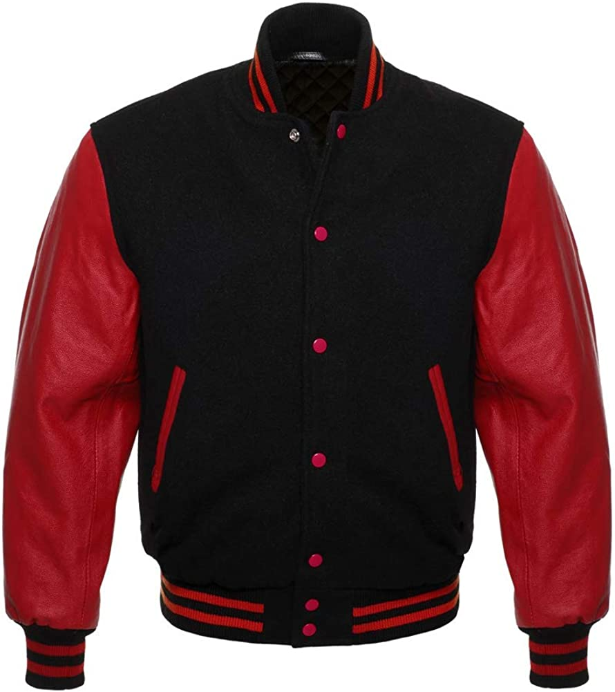 Varsity Jacket Letterman Bomber Baseball Wool & Genuine Leather Sleeves College Jacket