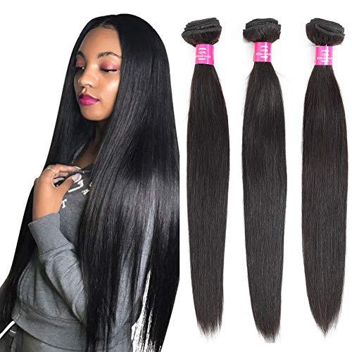 Brazilian Straight Bundles (18 20 22 Inch) 100% Unprocessed Virgin Straight Human Hair Bundles Long Brazilian Straight Hair Weave Bundles