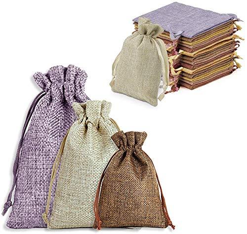 BSET BUY Sackleinen Taschen Baumwolle Säckchen 23 * 17cm18*13cm14.5 * 10cm Kleine Stoffbeutel Baumwolle Säckchen mit Kordelzug 5 Farbe 3 Größe mit Jute-Kordelzug für Geschenktüten (25 Stück )
