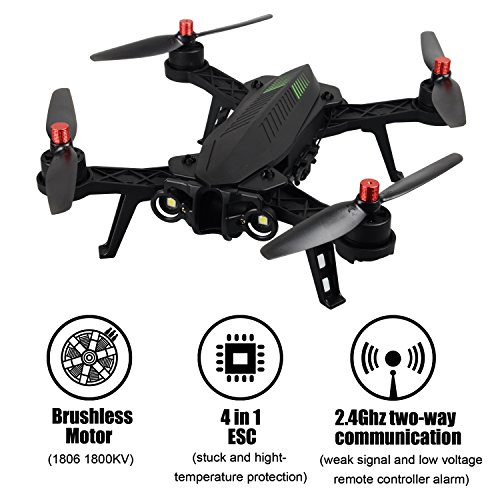 TIME4DEALS MJX B6 Bug 6 1600mkv Brushless motor FPV Racing Drone Quadcopter, Transmisión en tiempo real, 2,4 GHz 4 Chanel...