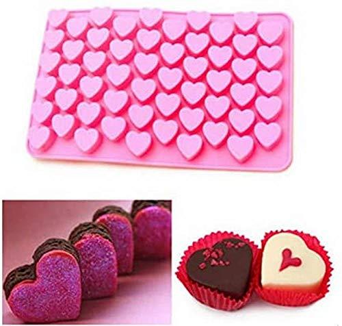 AOLIAY - Molde de chocolate con 55 rejillas, diseño de corazón, ideal para decoración de tartas