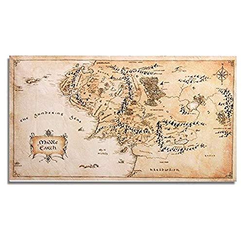 TRUUA Mapa de Seda Tierra Media Cartel Decoración Los Anillos de paño de Seda Poster Mapa de Señor de la Tierra Media - 110 × 60 cm