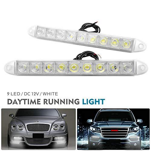 MASO Luz de circulación diurna 2 piezas 9 LED para conducción de coche DRL, luz antiniebla súper blanca 12 V