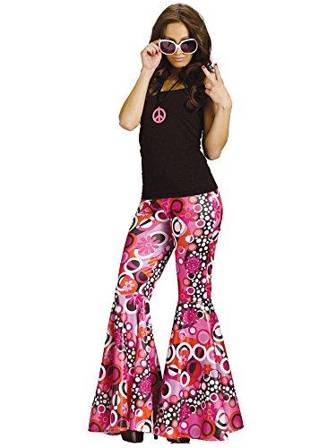 Fun World Women's Power Bell Bottoms Adult Costume, Groovy Pink M/L, Medium/Large