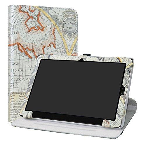 """MediaPad M5 10.8 Rotary Funda,LiuShan Giratoria 360 Grados de Rotación Carcasa con Stand Soporte Caso para 10.8"""" Huawei MediaPad M5 10.8 / M5 Pro Android Tablet,Map White"""