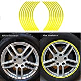 Terisass Car Motorcycel Wheel Reflective Pinstripe Decal Tape Sticker Decoration Film Sticker Fluorescent Reflective Car Decals 6 Colors Universal(Yellow)