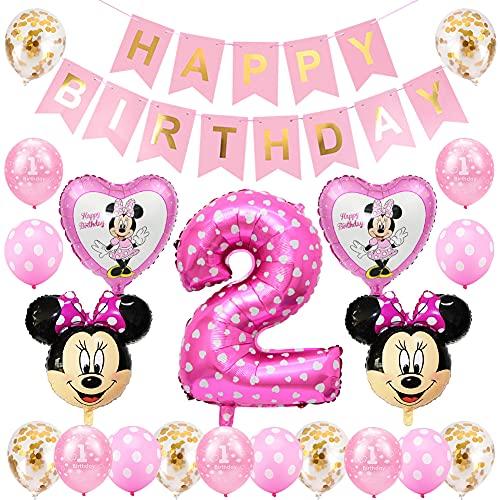 Minnie Globos, Minnie Themed Party Decorations Supplies 2rd Birthday Decoración de cumpleaños 2 en Rosa Niña 2 Año para Fiestas de Cumpleaños Globos
