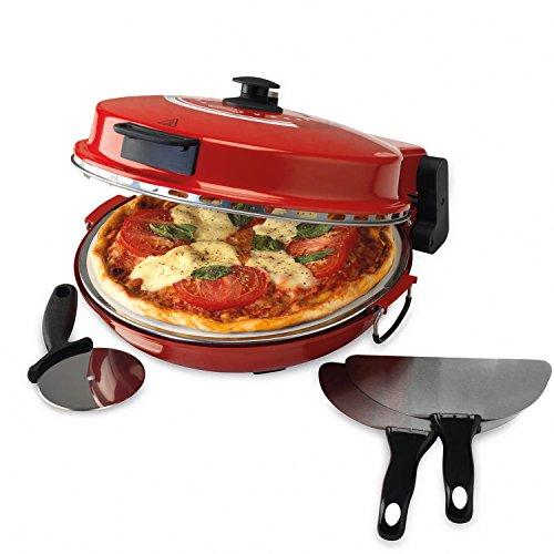Giles & Posner EK2309 Italian Stone Baked Bella Pizza Maker, 1200 W, Red