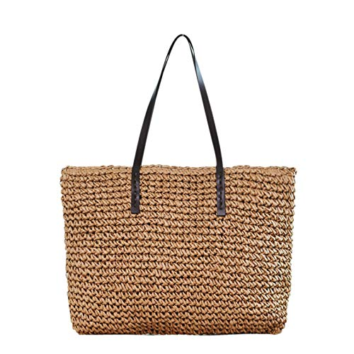 Ayliss Women Straw Woven Tote Large Beach Handmade Weaving Shoulder Bag Handbag (Khaki)