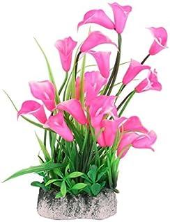eDealMax Fish Tank Artificial ramo de la Flor del ornamento del acuario Planta 2 Pcs Rosa