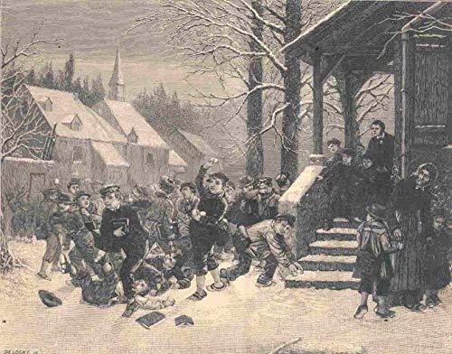 Schule - Die Schule ist aus. Schöne Ansicht vor der Schule. Die Knaben machen eine Schneeballschlacht und rangeln sich am Boden. [Grafik]